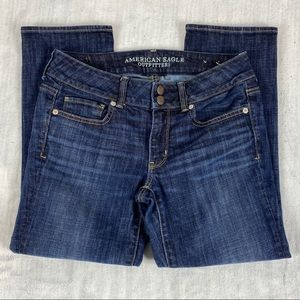 American Eagle Artist Crop Stretch Jeans Size 6 Dark Wash Low Rise Double Button